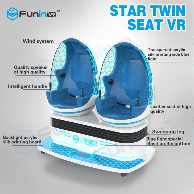 Two Seats 9D VR Ride Cabin Cinema Virtual Reality simulator For Kids Amusement Park